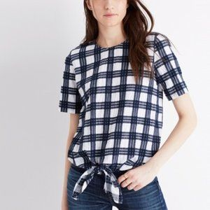Madewell plaid  button back tie tee blue white